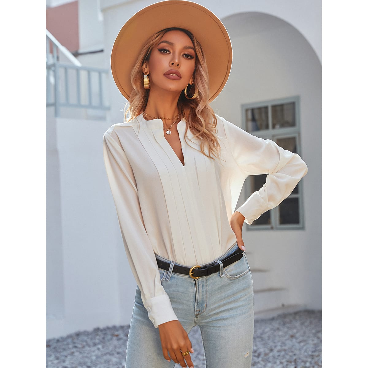 Notched Neck Pleated Decoration Blouse