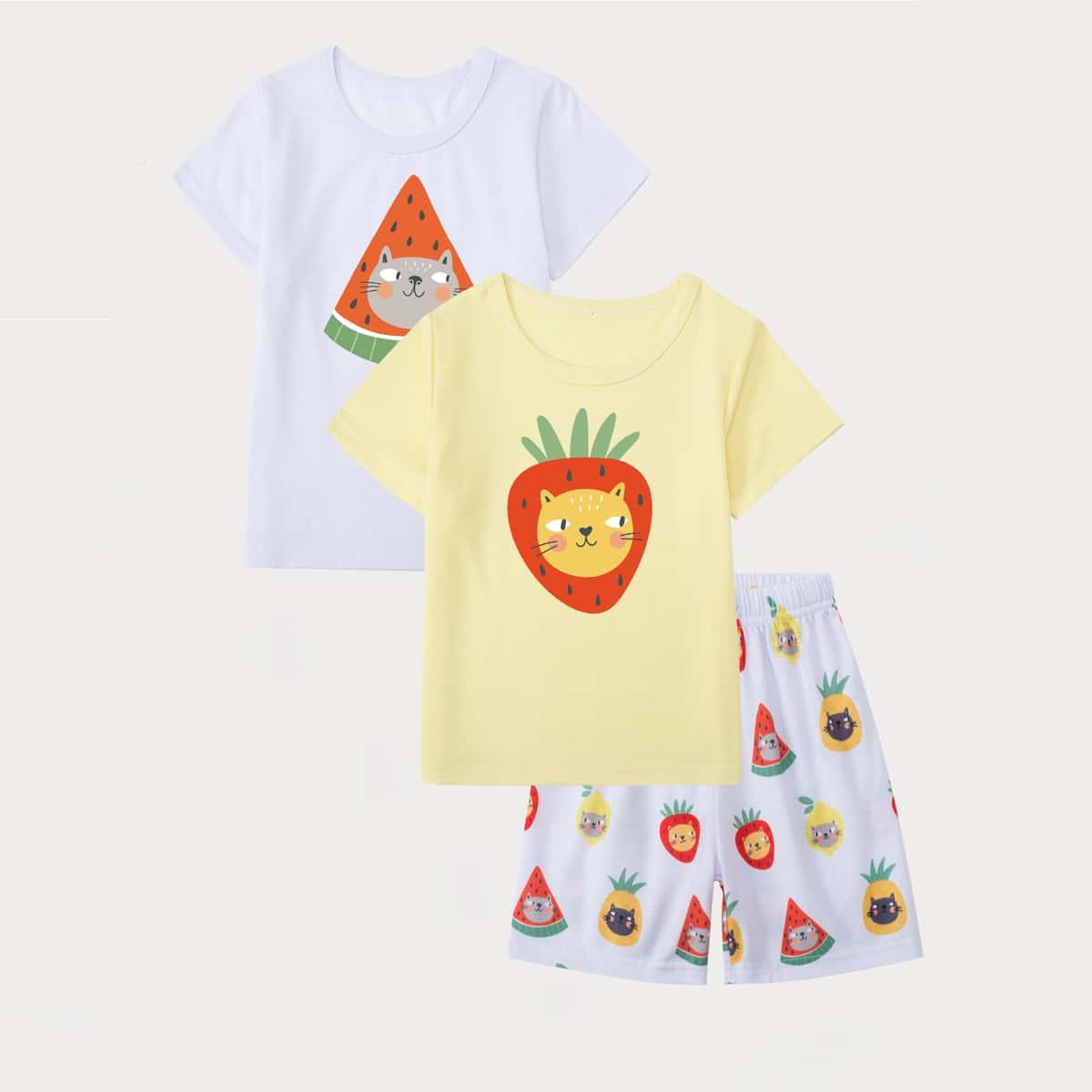 3шт пижама с мультипликационным принтом для мальчиков
