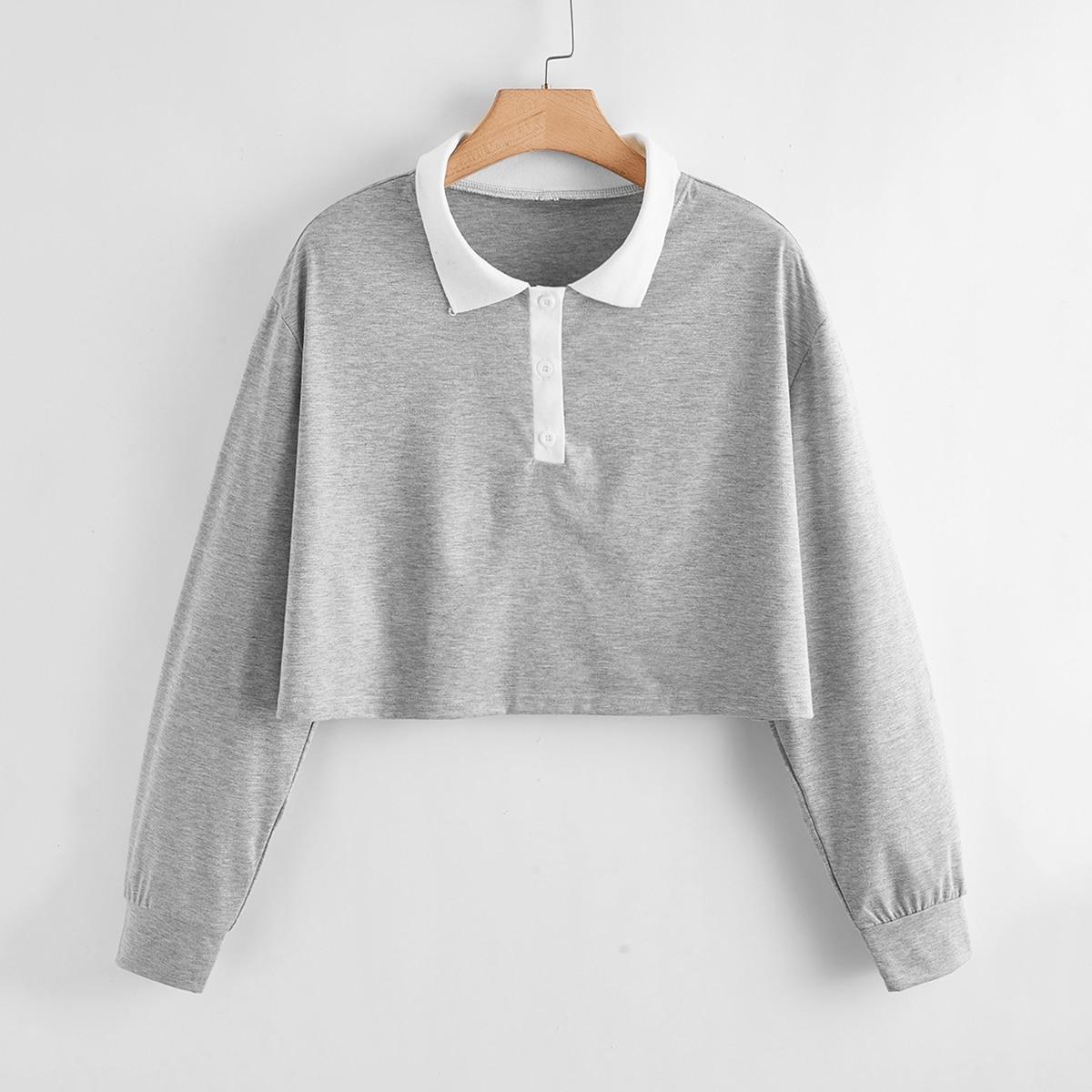 Кроп футболка размера плюс с воротником-поло