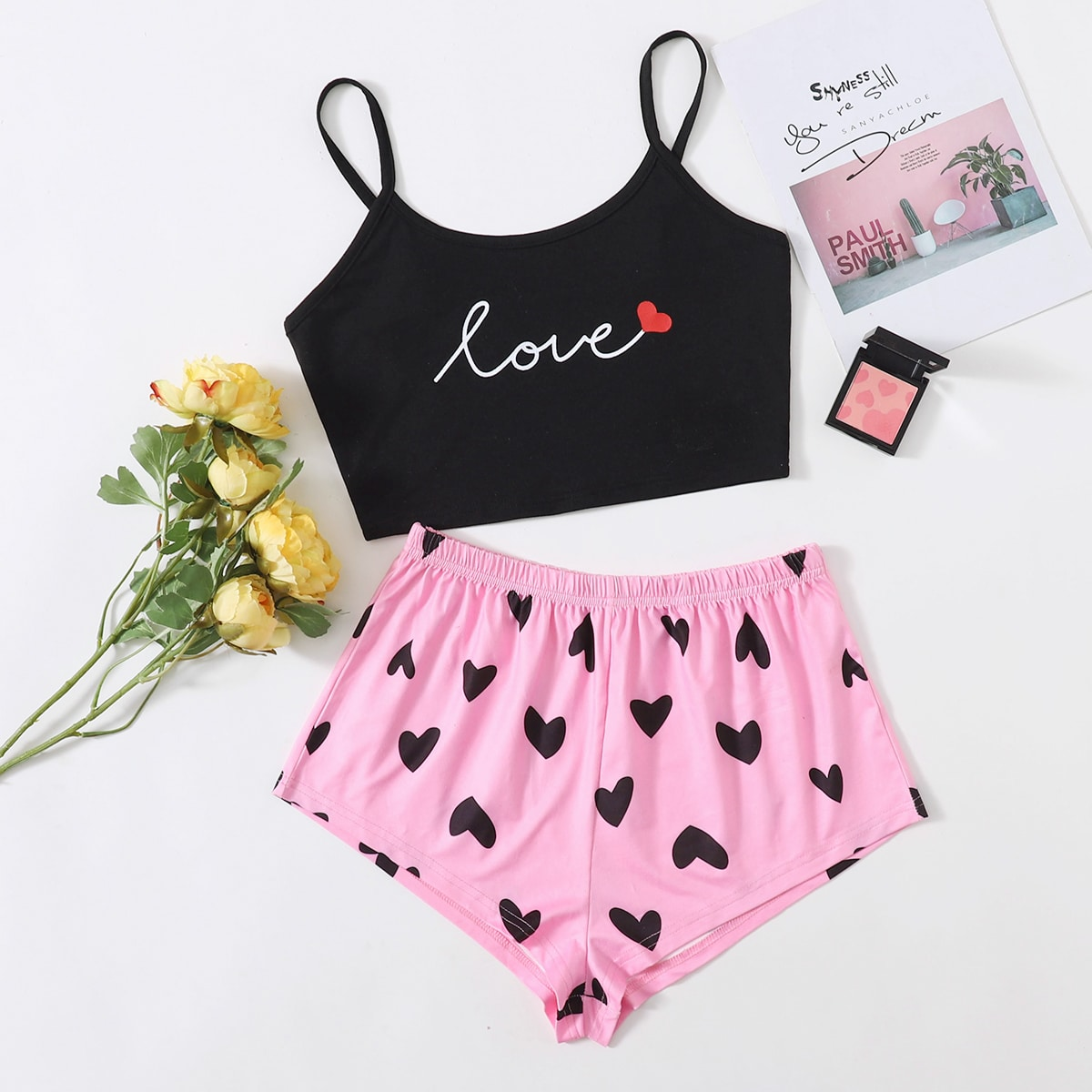 SHEIN / Letter And Heart Print Cami Pajama Set