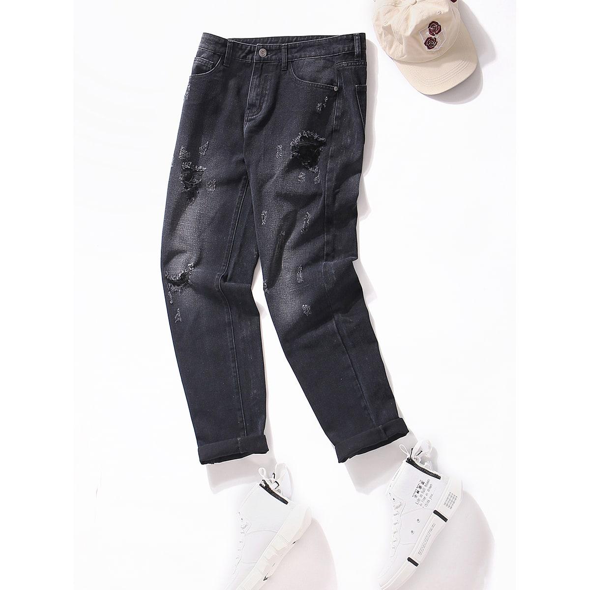 Мужские рваные прямые джинсы по цене 2 100