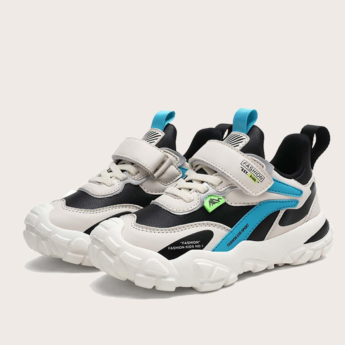 Кроссовки для мальчиков на липучках с текстовым рисунком от SHEIN