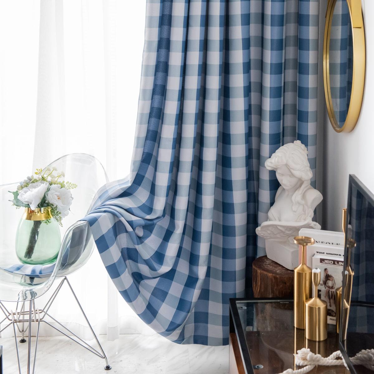 1 Schal Vorhang mit Gingham Muster