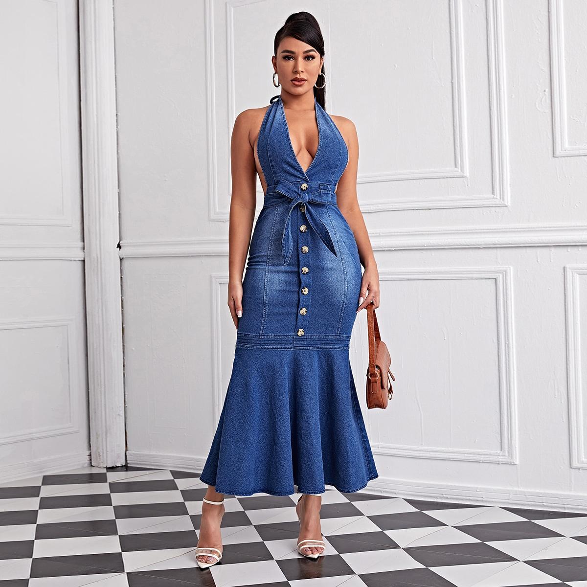 Джинсовое платье-русалка с пуговицами