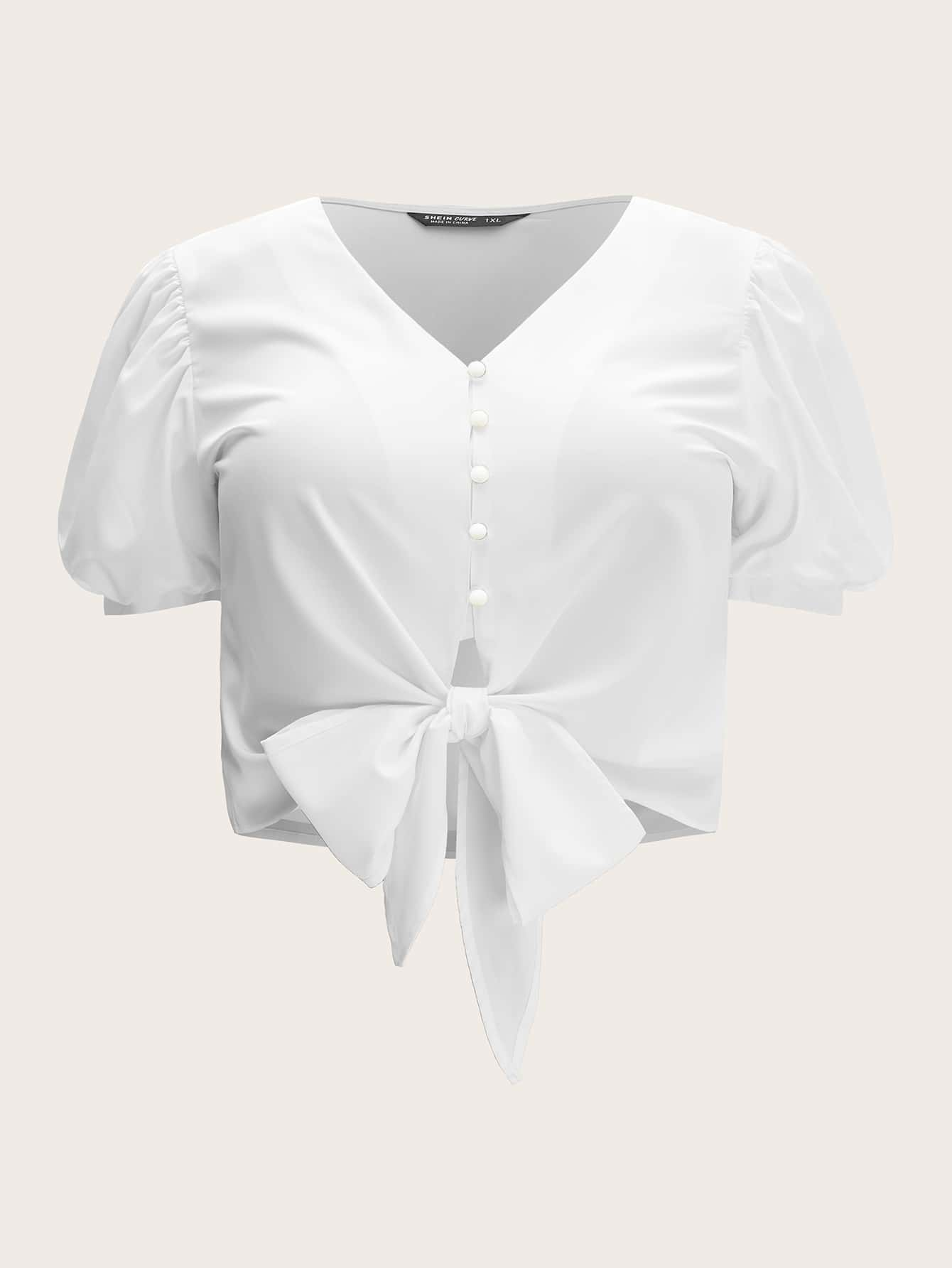 Plus V-Neck Tie Front Puff Sleeve Blouse