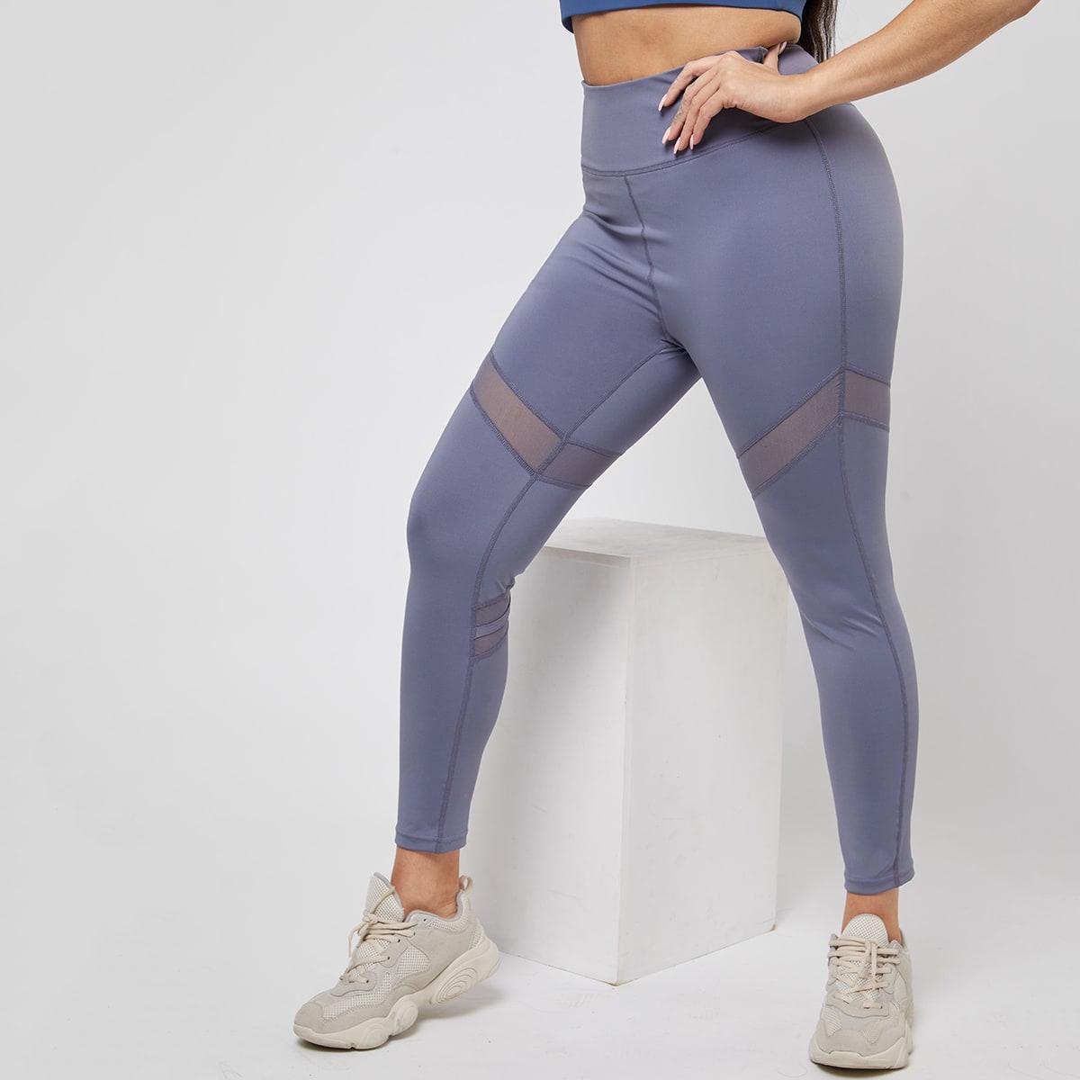 Контрастная сетка Одноцветный Спортивные леггинсы & брюки размера плюс