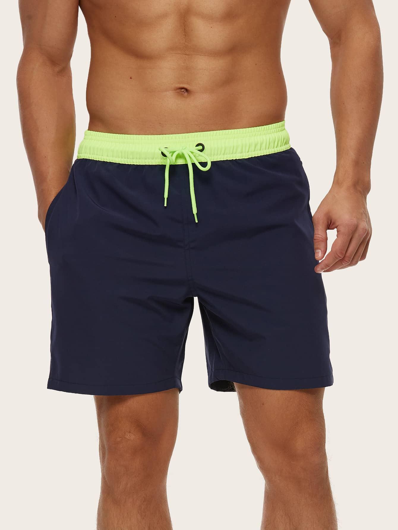 men drawstring waist slant pocket swim trunks
