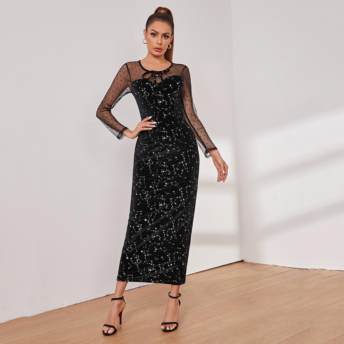 Бархатное платье с принтом и сетчатой отделкой