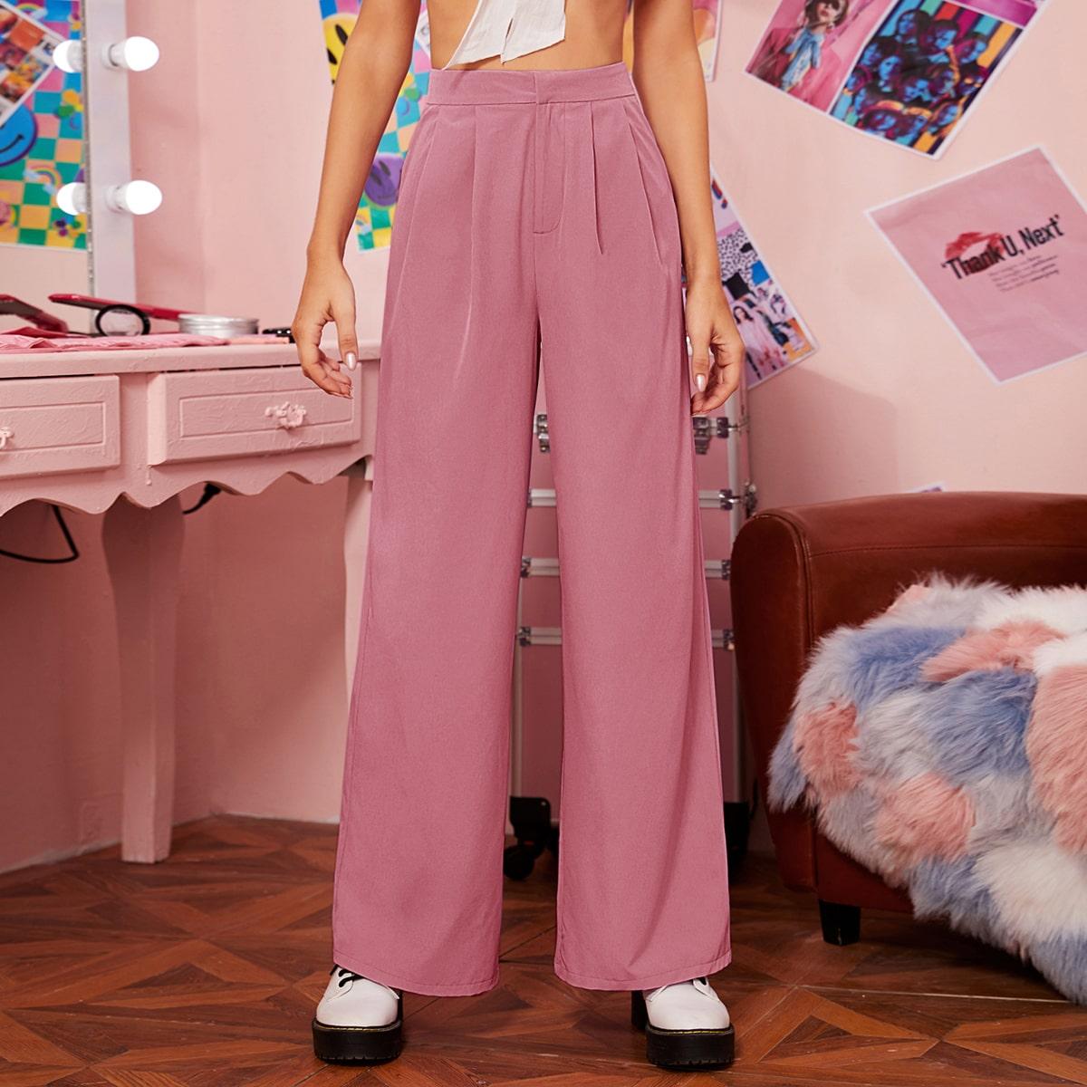 Плиссированные широкие брюки