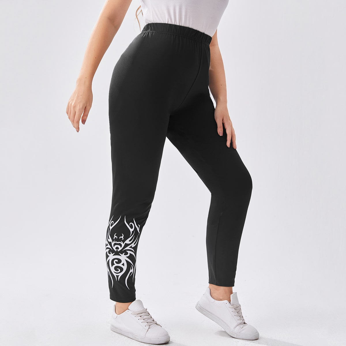 Plus Graphic Print High Waisted Skinny Pants, SHEIN  - buy with discount