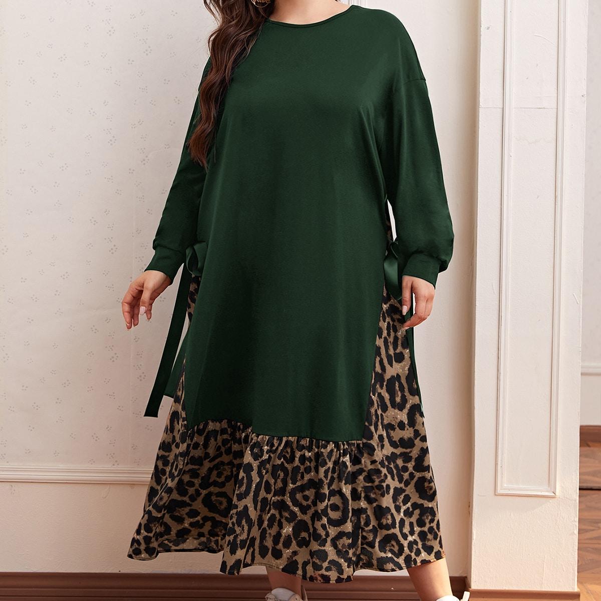 2 в 1 платье размера плюс с леопардовым принтом