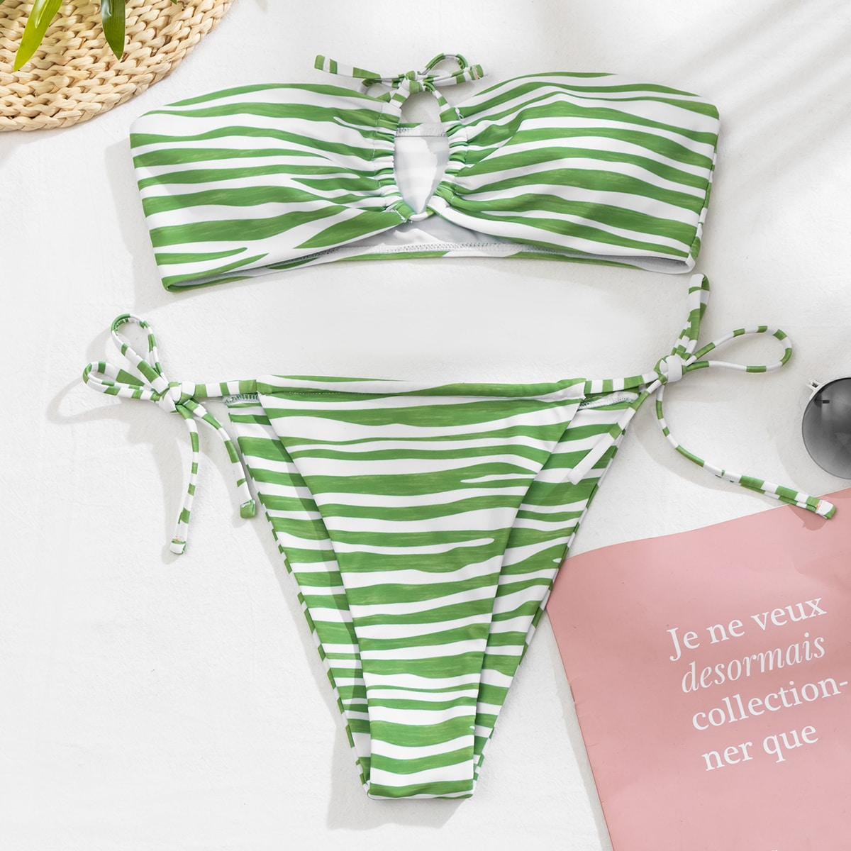 SHEIN / Striped Bandeau Thong Bikini Swimsuit