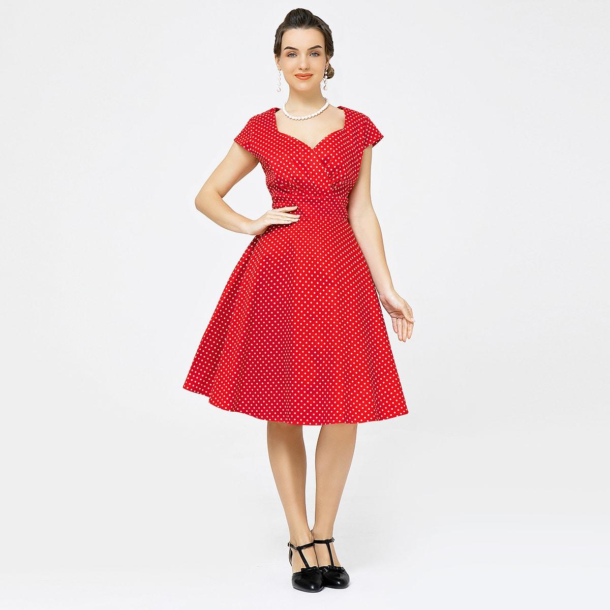 Платье в горошек с воротником-сердечком без нижней юбки
