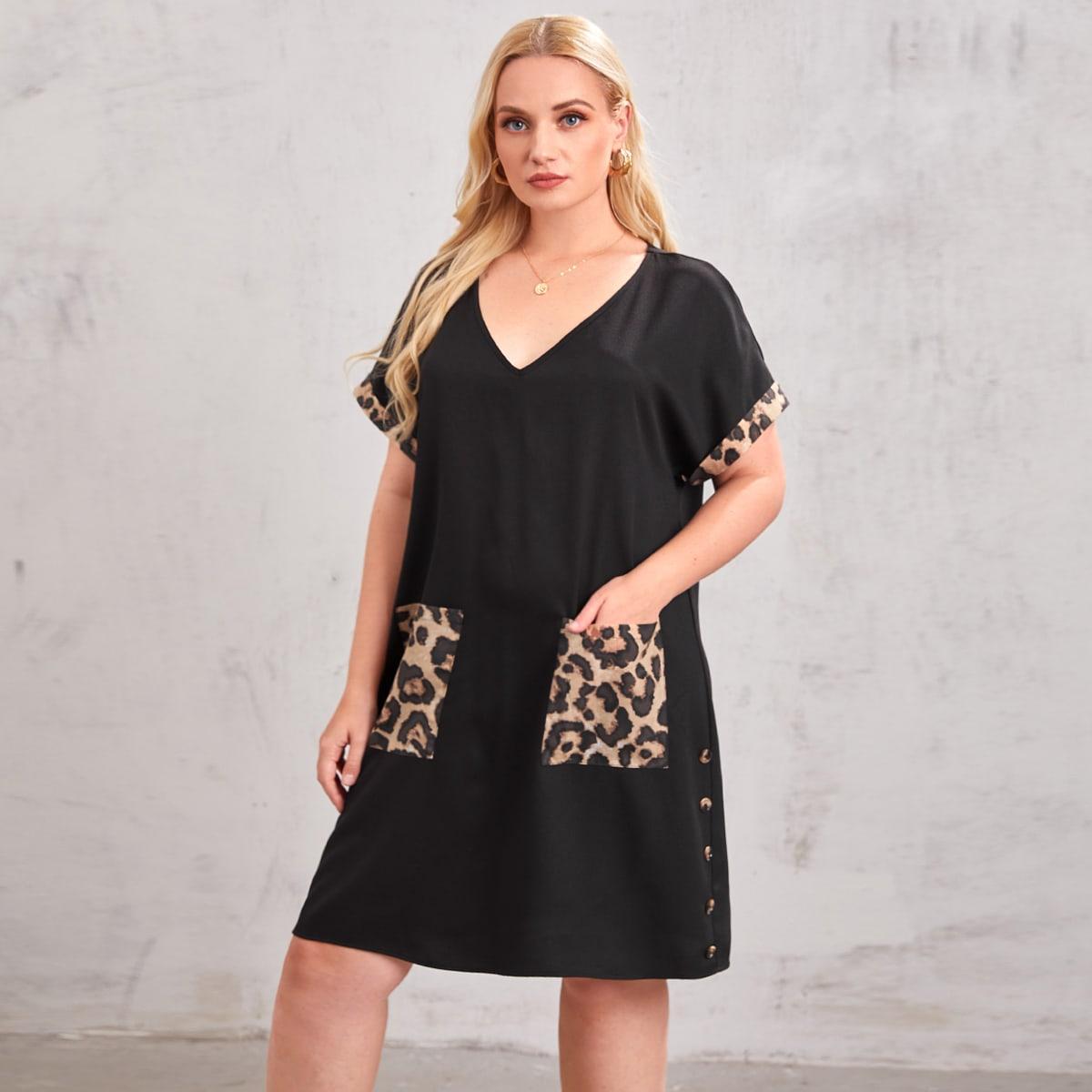 Платье размера плюс с карманом и леопардовым принтом