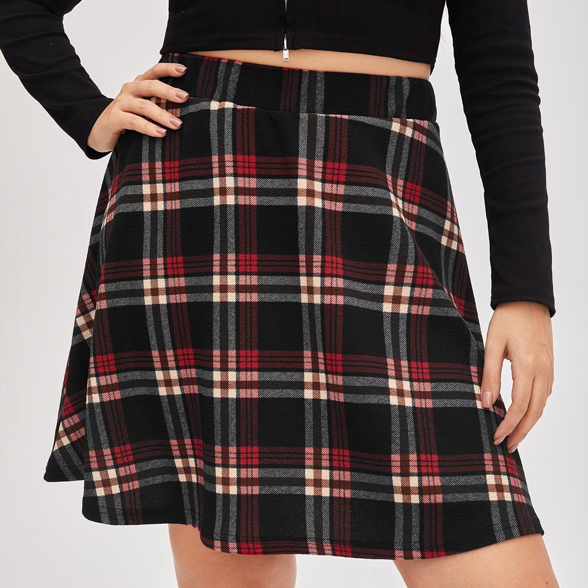 SHEIN / Plus Tartan Flared Skirt