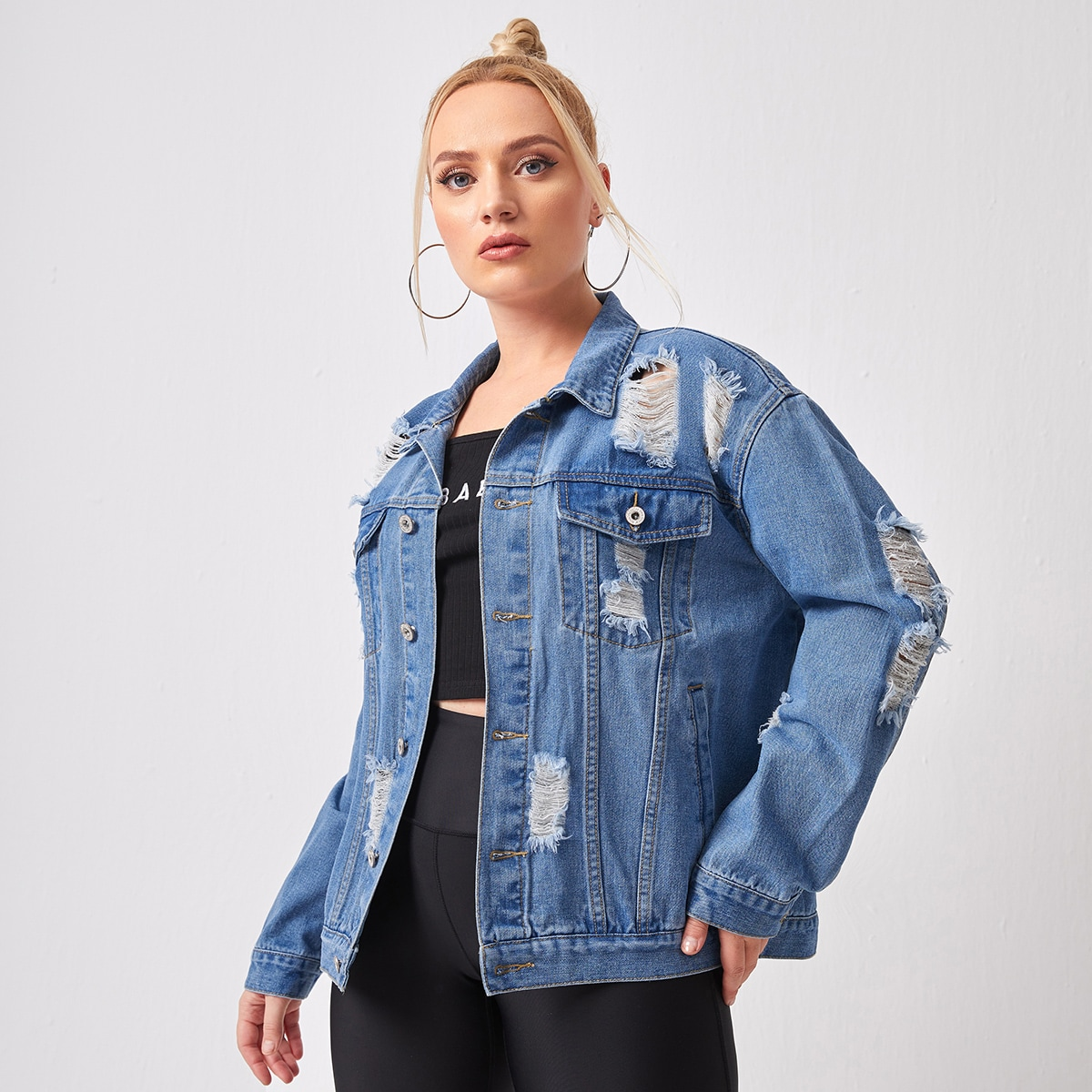 SHEIN Casual Vlak Grote maat: jeansjas Knoop