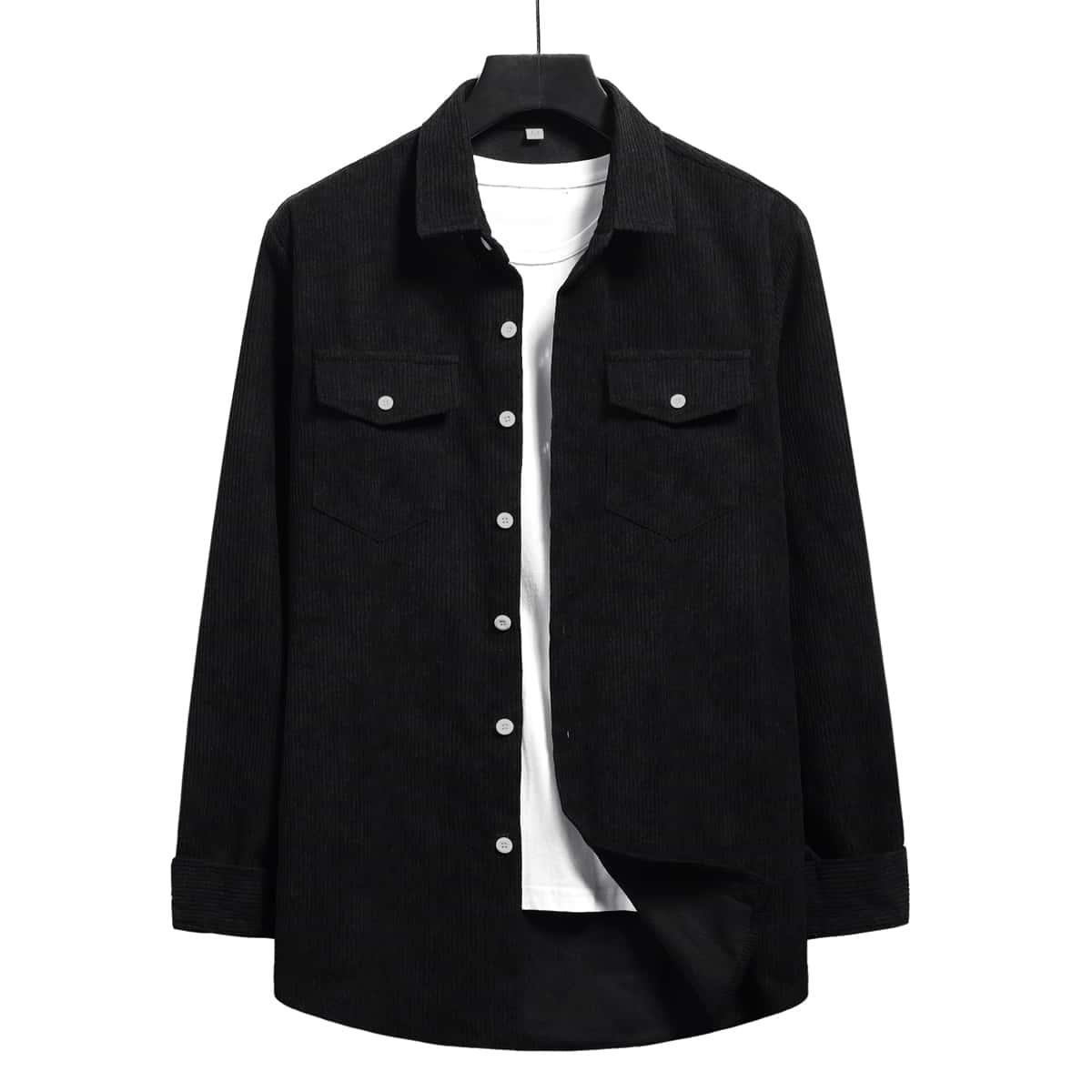 Мужская вельветовая рубашка на пуговицах с карманом SheIn smshirt01210108038