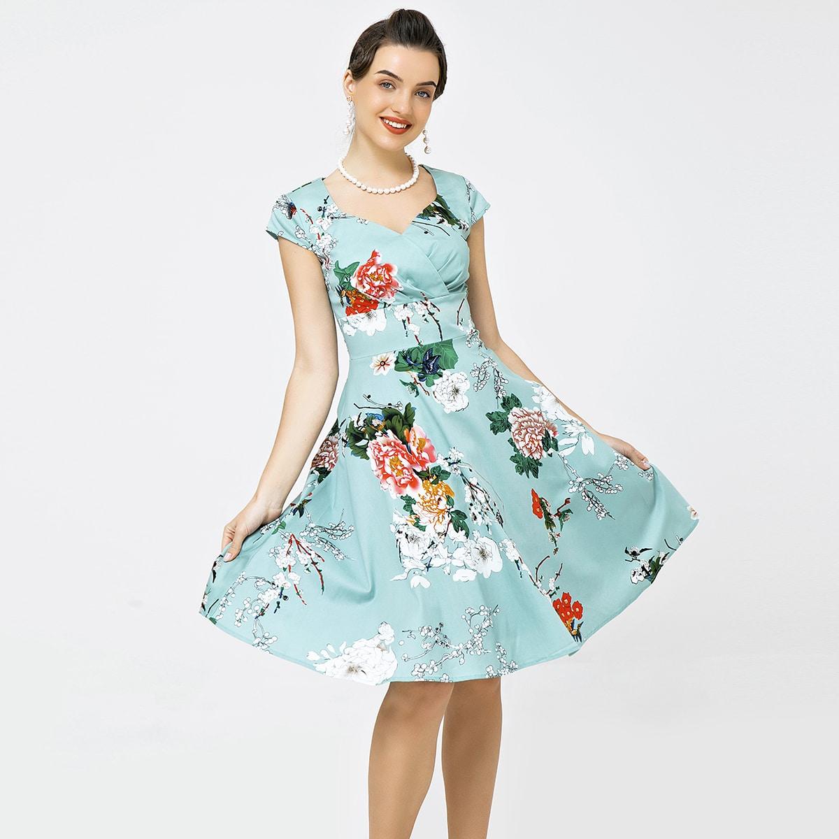 Платье с воротником-сердечком и цветочным принтом без нижней юбки