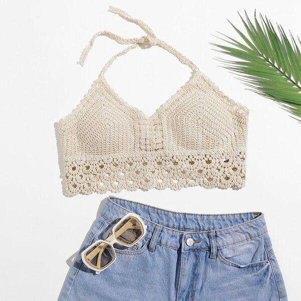 Tie Backless Crochet Halter Top, Beige