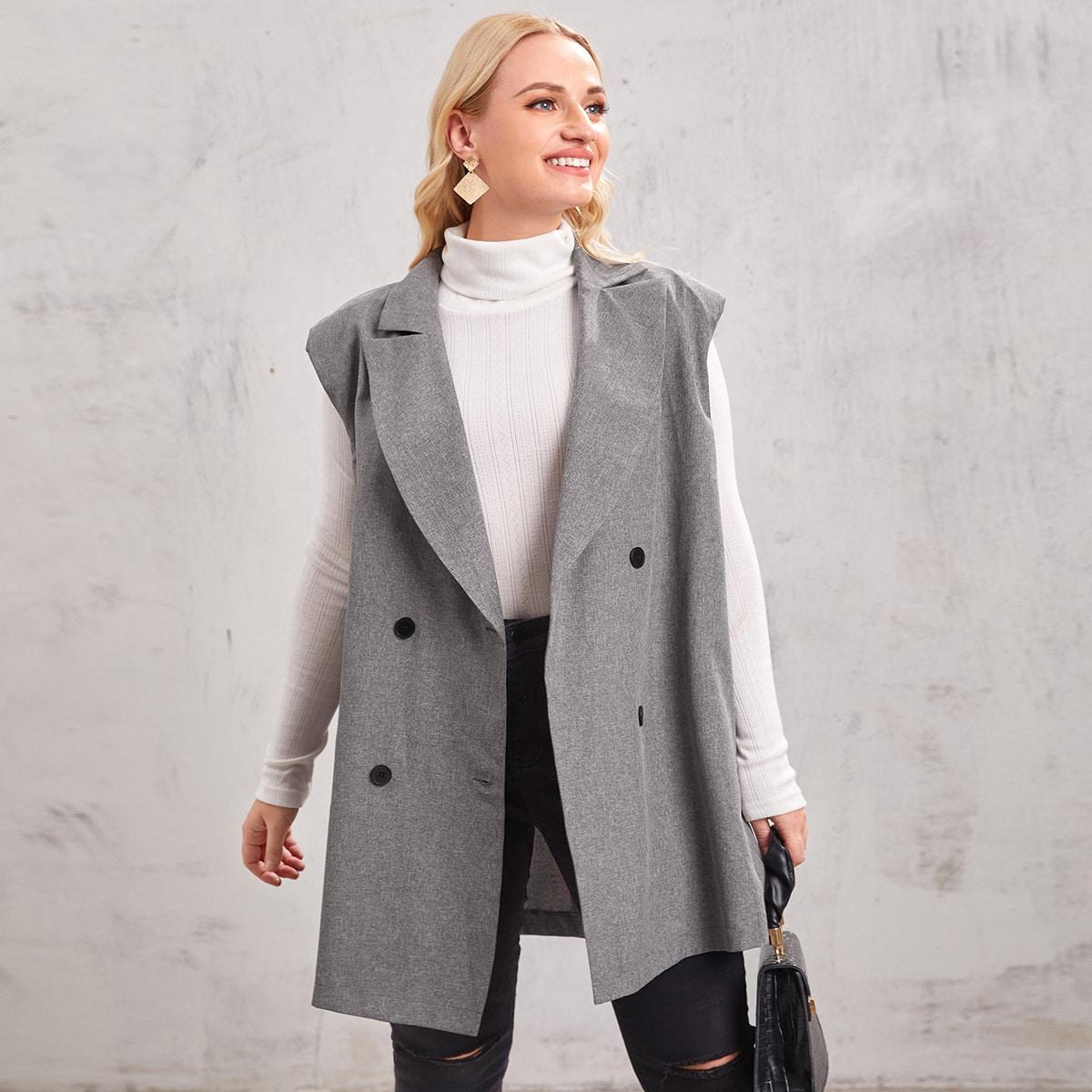 Двубортный жилет-пиджак размера плюс с лацканами