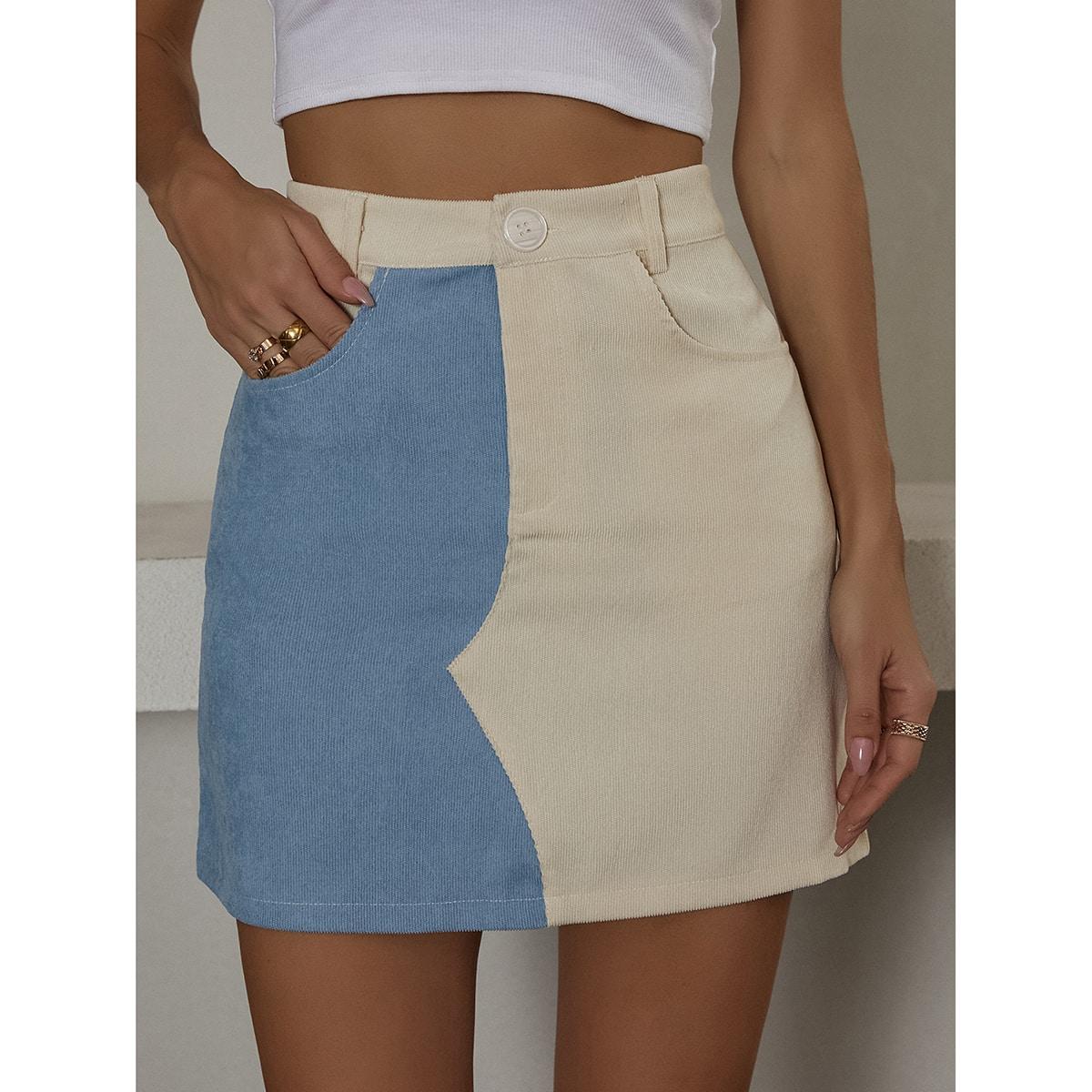 Контрастная вельветовая юбка с карманом