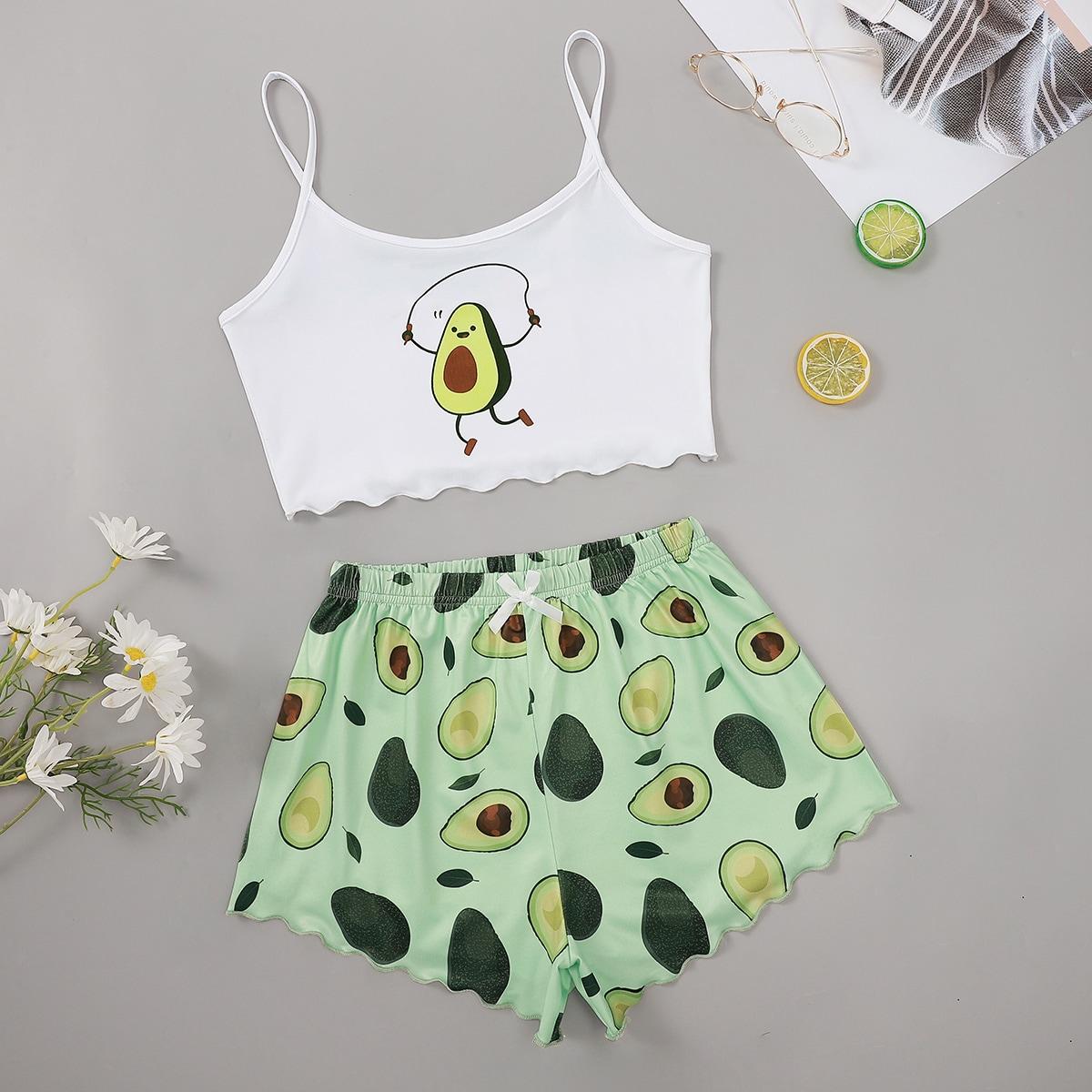 SHEIN / Cartoon Avocado Print Lettuce Trim Cami Pajama Set