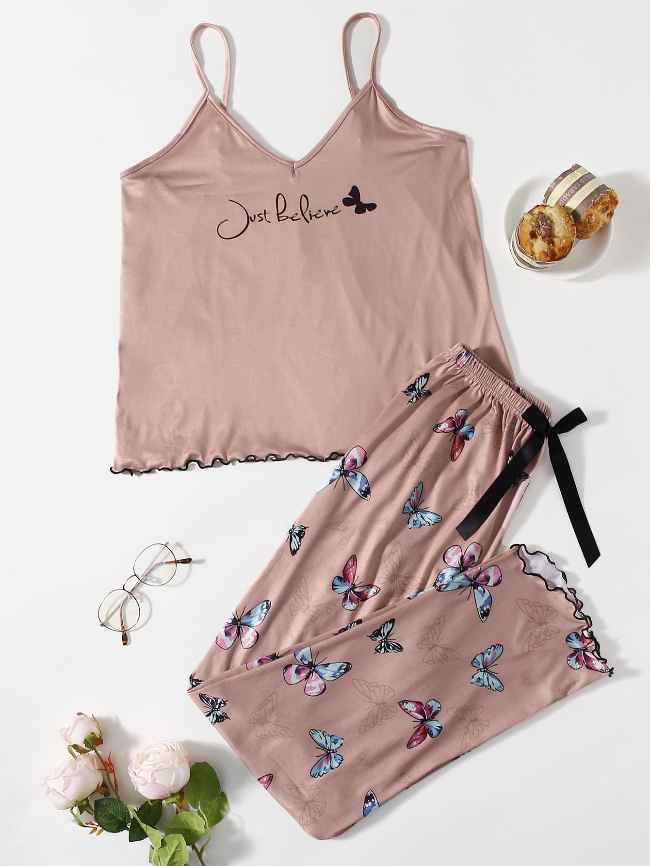 Slogan & Butterfly Print Bow Pajama Set