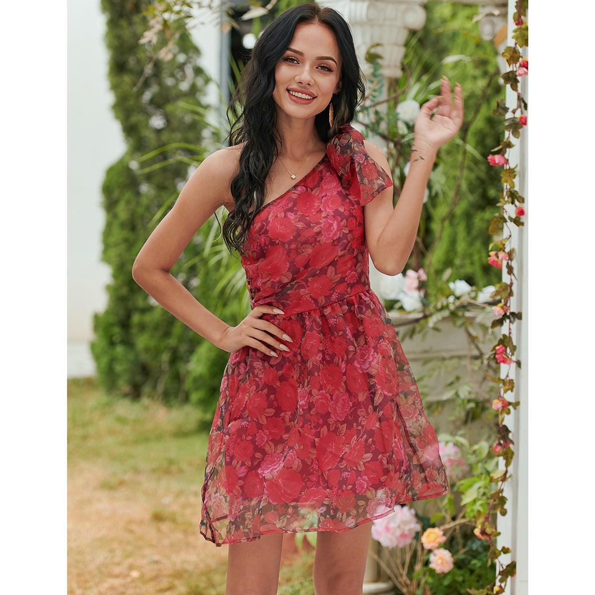Платье из органзы на одно плечо с цветочным узором