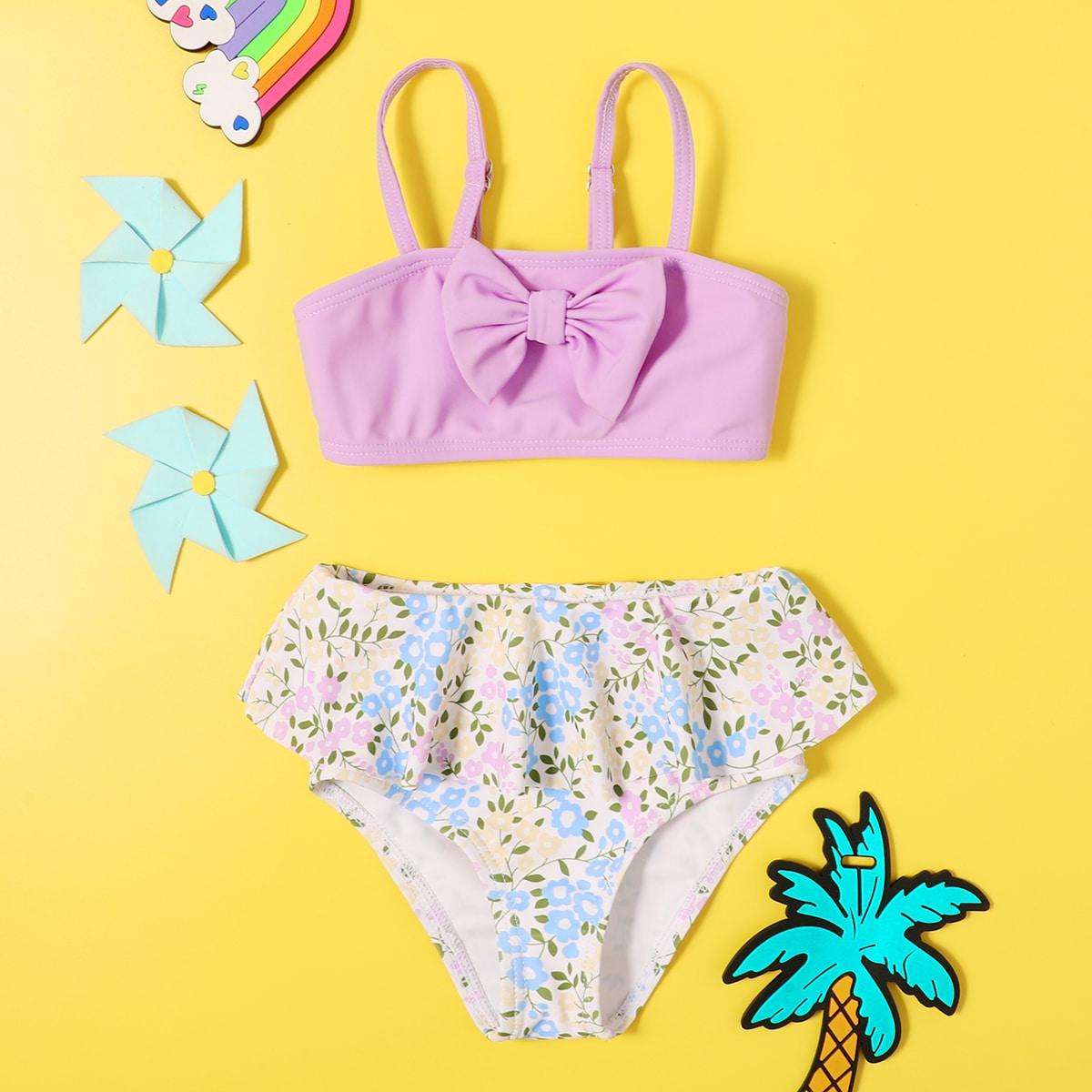 с оборками цветочный милый купальник для малышей по цене 558