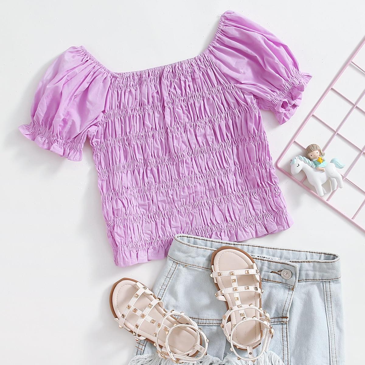 С оборками одноцветный милый блузы для девочек