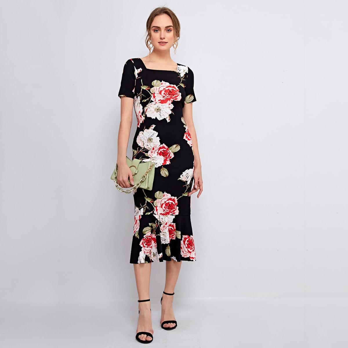 С оборками Цветочный принт Элегантный Платье