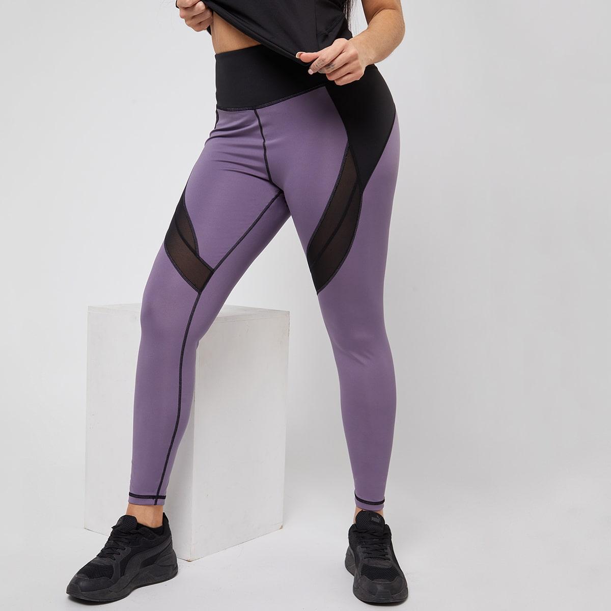 Контрастная сетка Контрастный цвет Спортивные леггинсы & брюки размера плюс