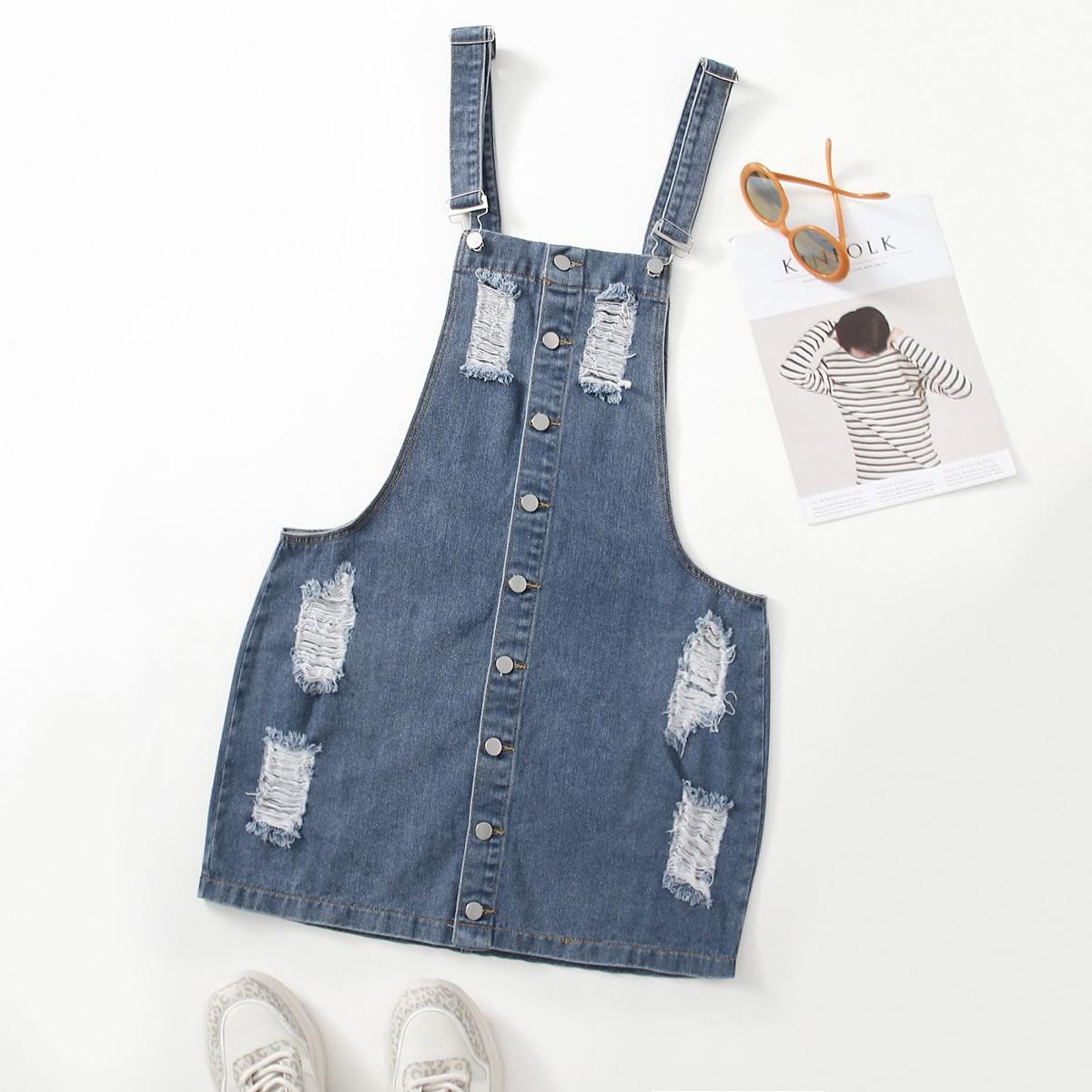 Рваное джинсовое платье размера плюс с пуговицами