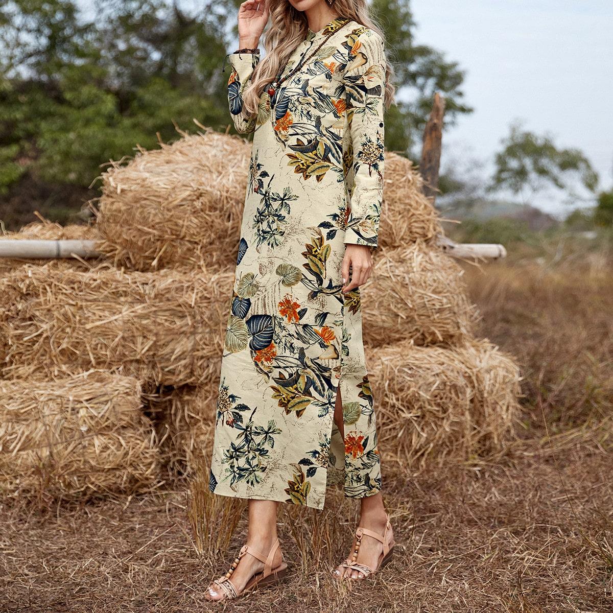 Разрез Тропический Бохо Платье