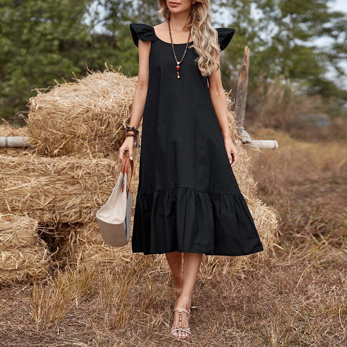 Ruffle Hem Solid Smock Dress