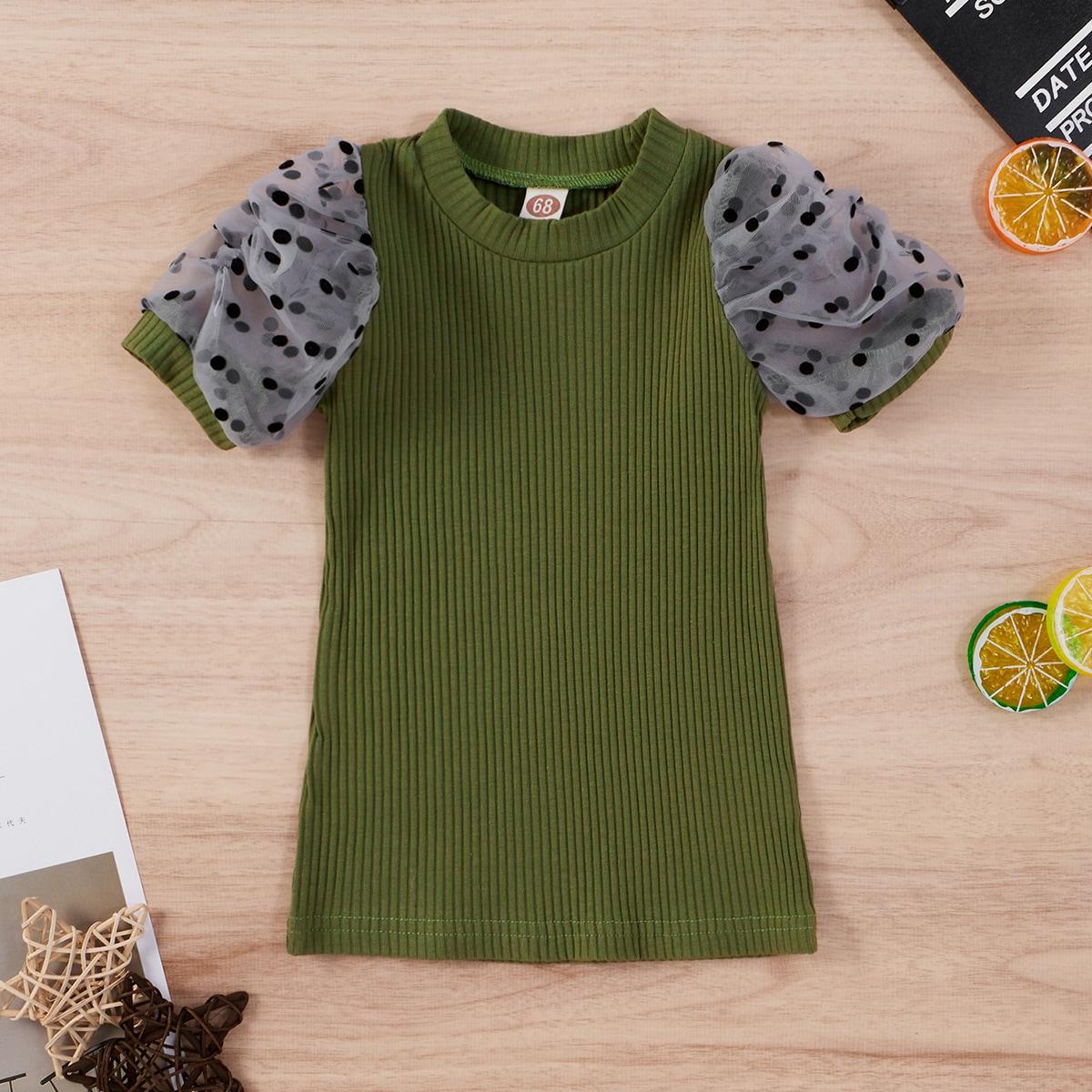 shein Casual Stippen Baby-jurk Contrast doorschijnend