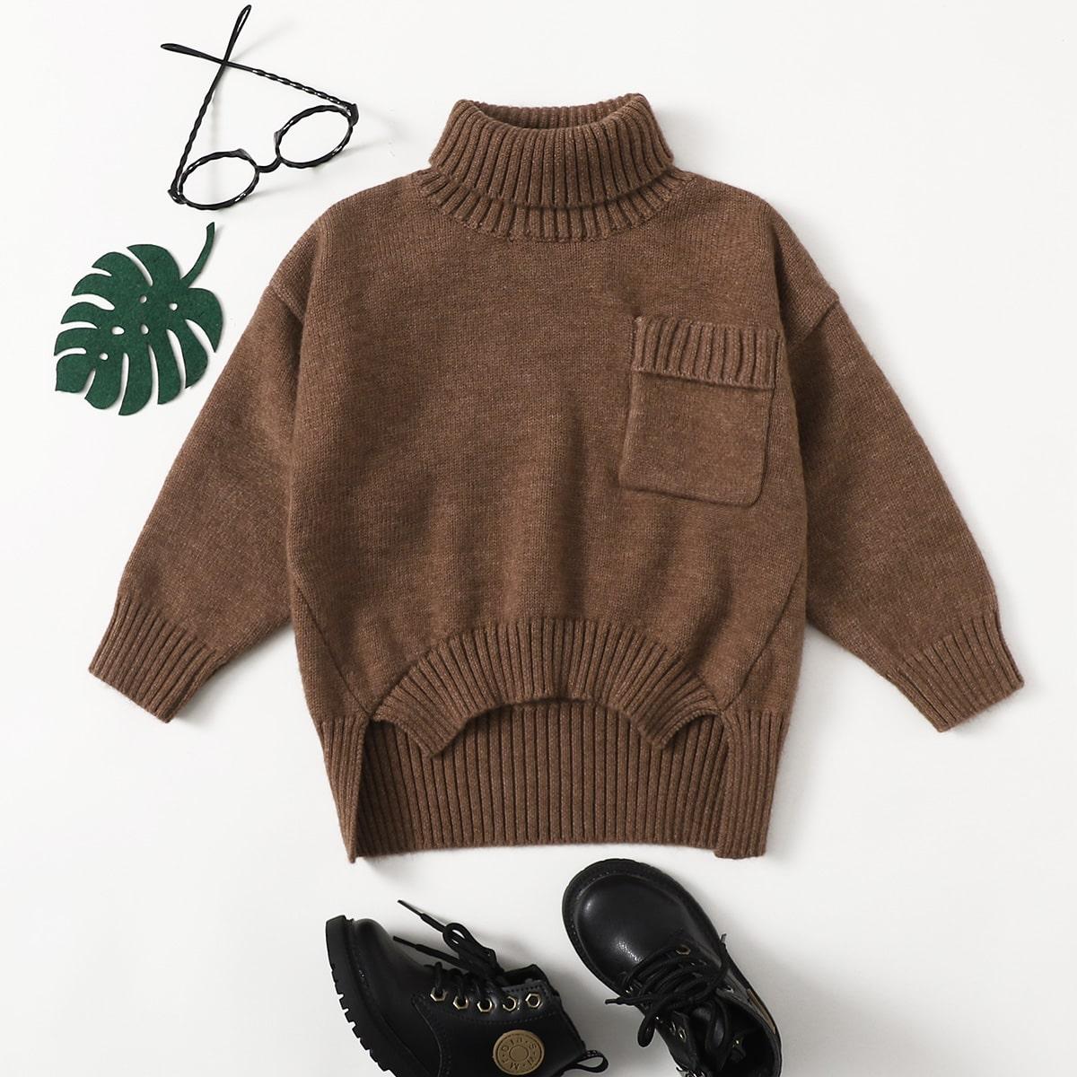 Асимметричный свитер с высоким воротником для мальчиков