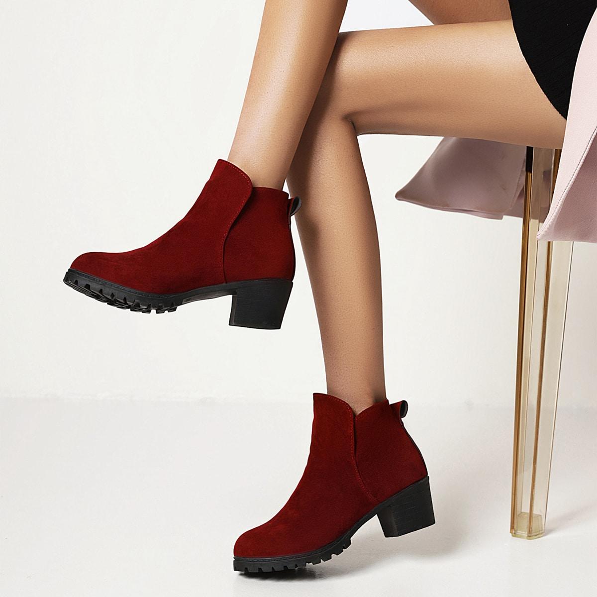 SHEIN Minimalistische dikke hakken laarzen