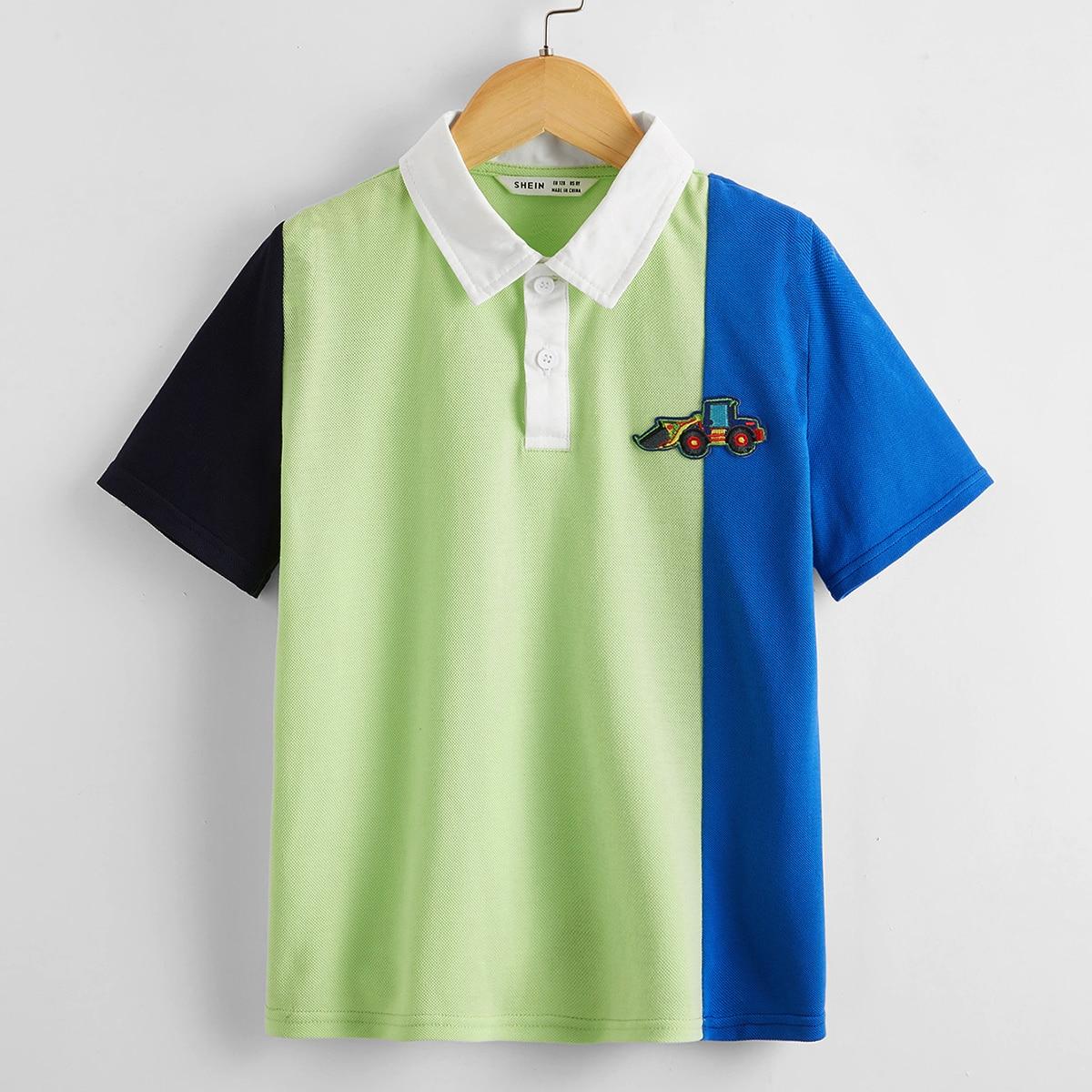 Аппликация контрастный цвет повседневный рубашки поло для мальчиков