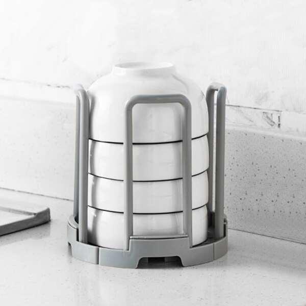 1pc Kitchen Bowl Drain Rack, Grey
