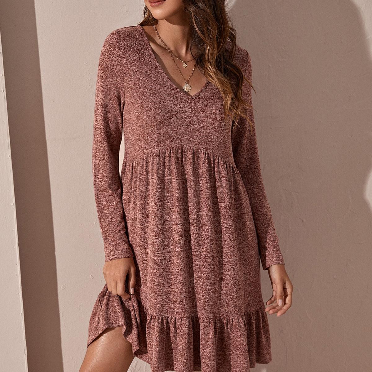 С оборками Одноцветный Повседневный Платье
