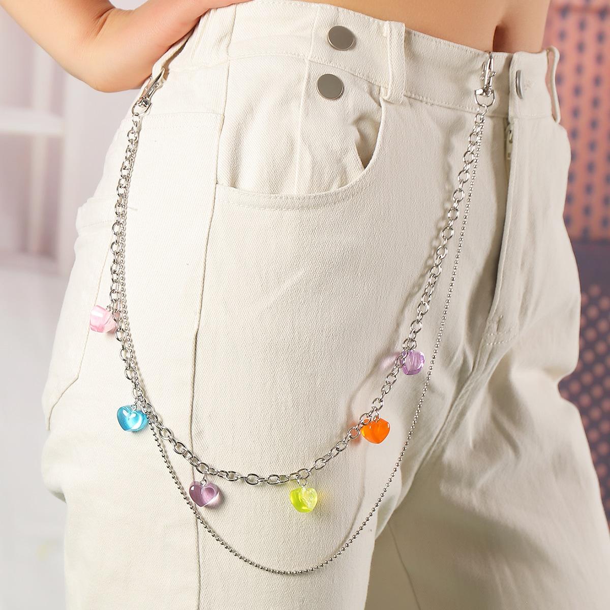 Heart Charm Layered Belt Chain