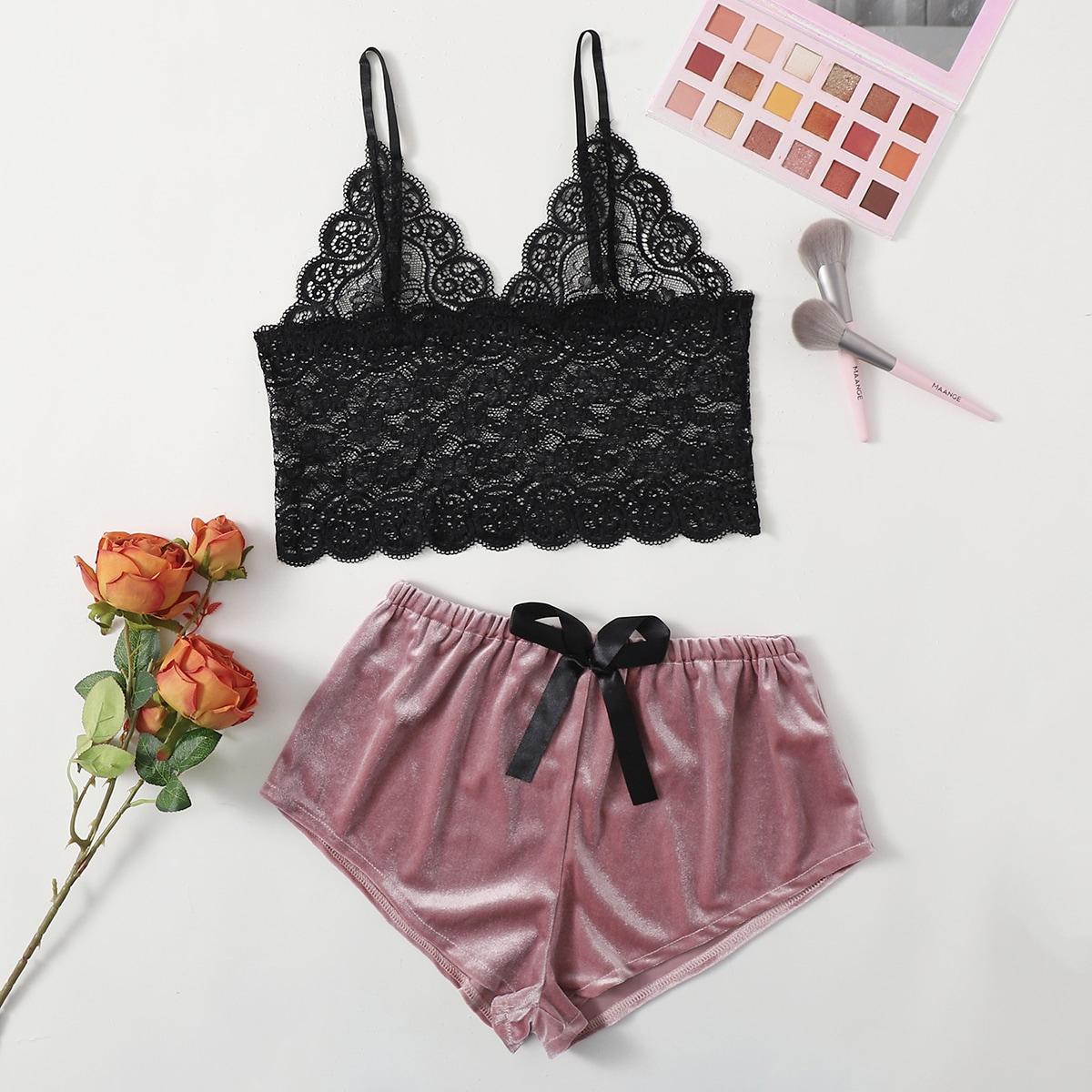 Контрастные кружева Цвет блок мода Романтический Сексуально-женское белье по цене 460