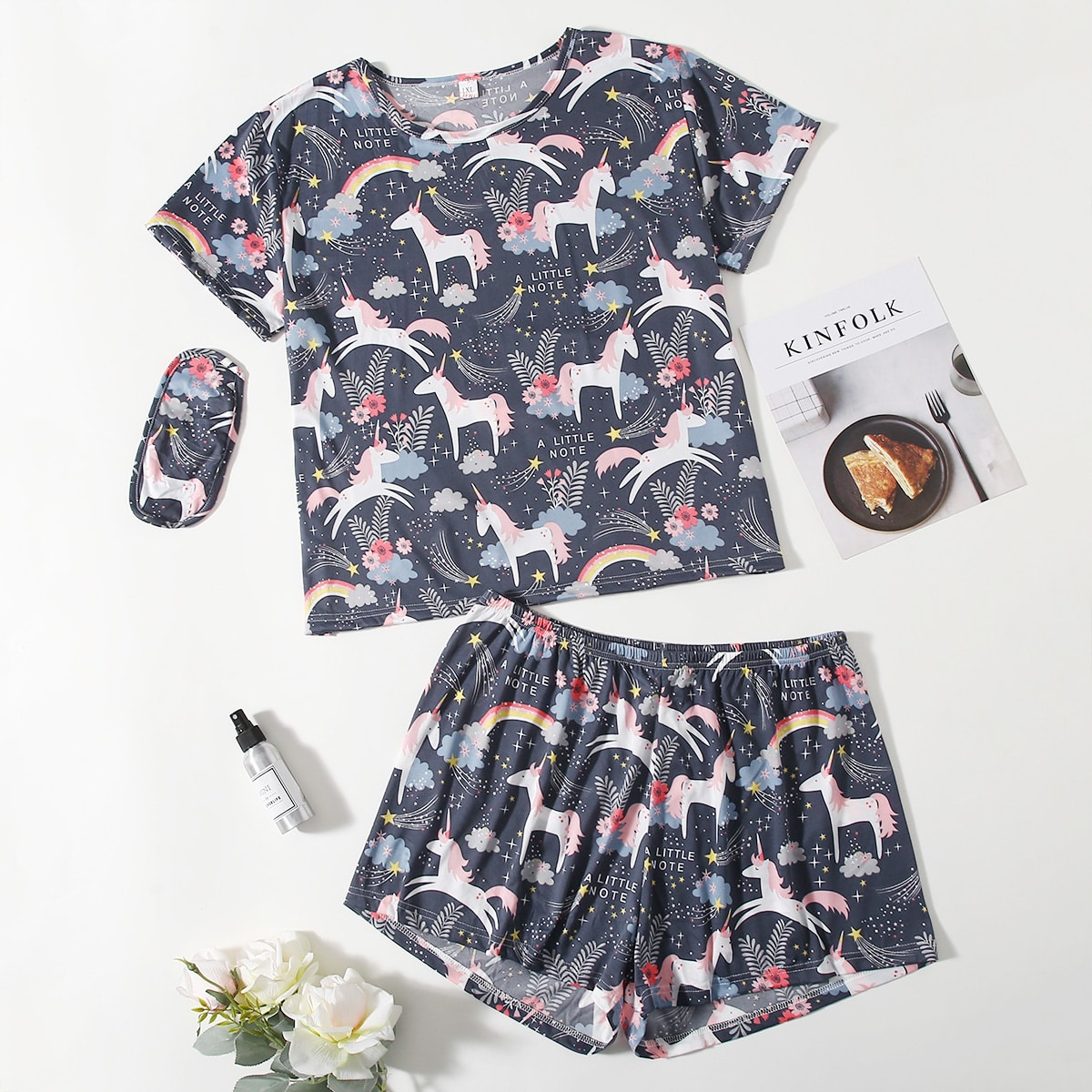 shein Schattig Spotprent Grote maten pyjama sets