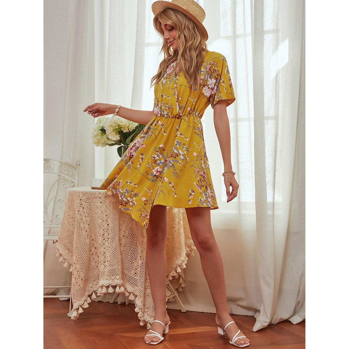 Асимметричный Цветочный принт Бохо Платье