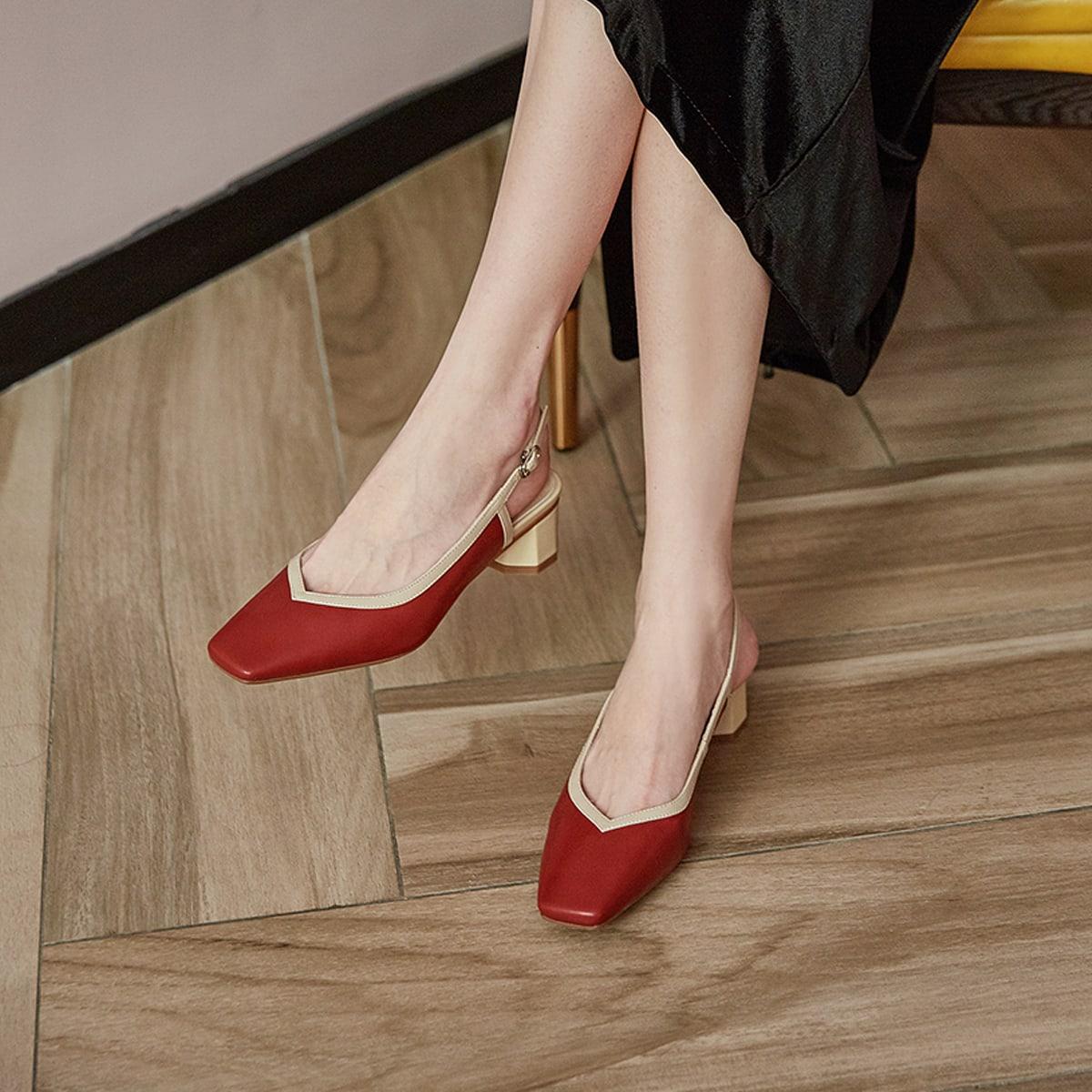 Кожаные туфли на массивном каблуке с открытой пяткой от SHEIN