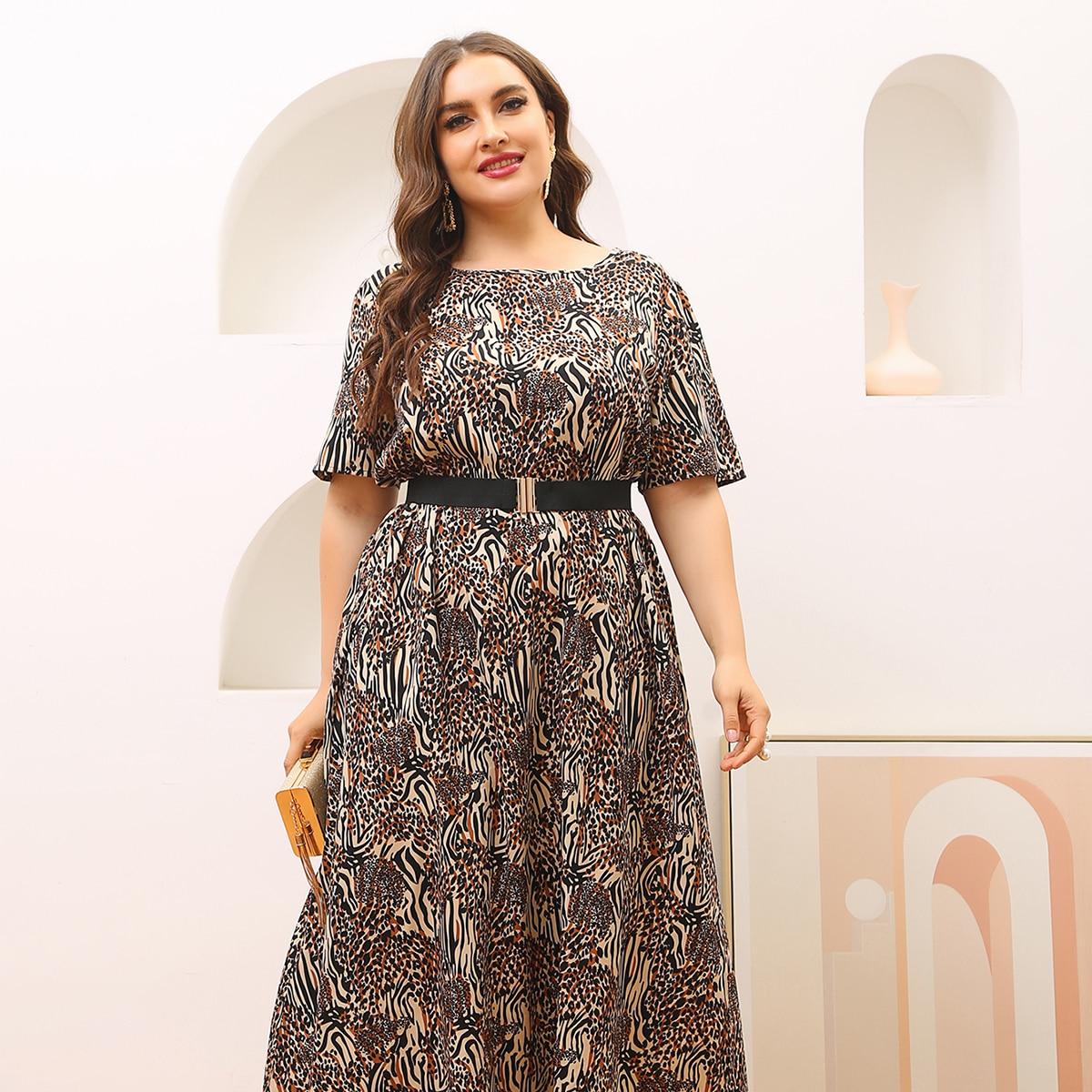 Plus Leopard Print Belted A-line Dress