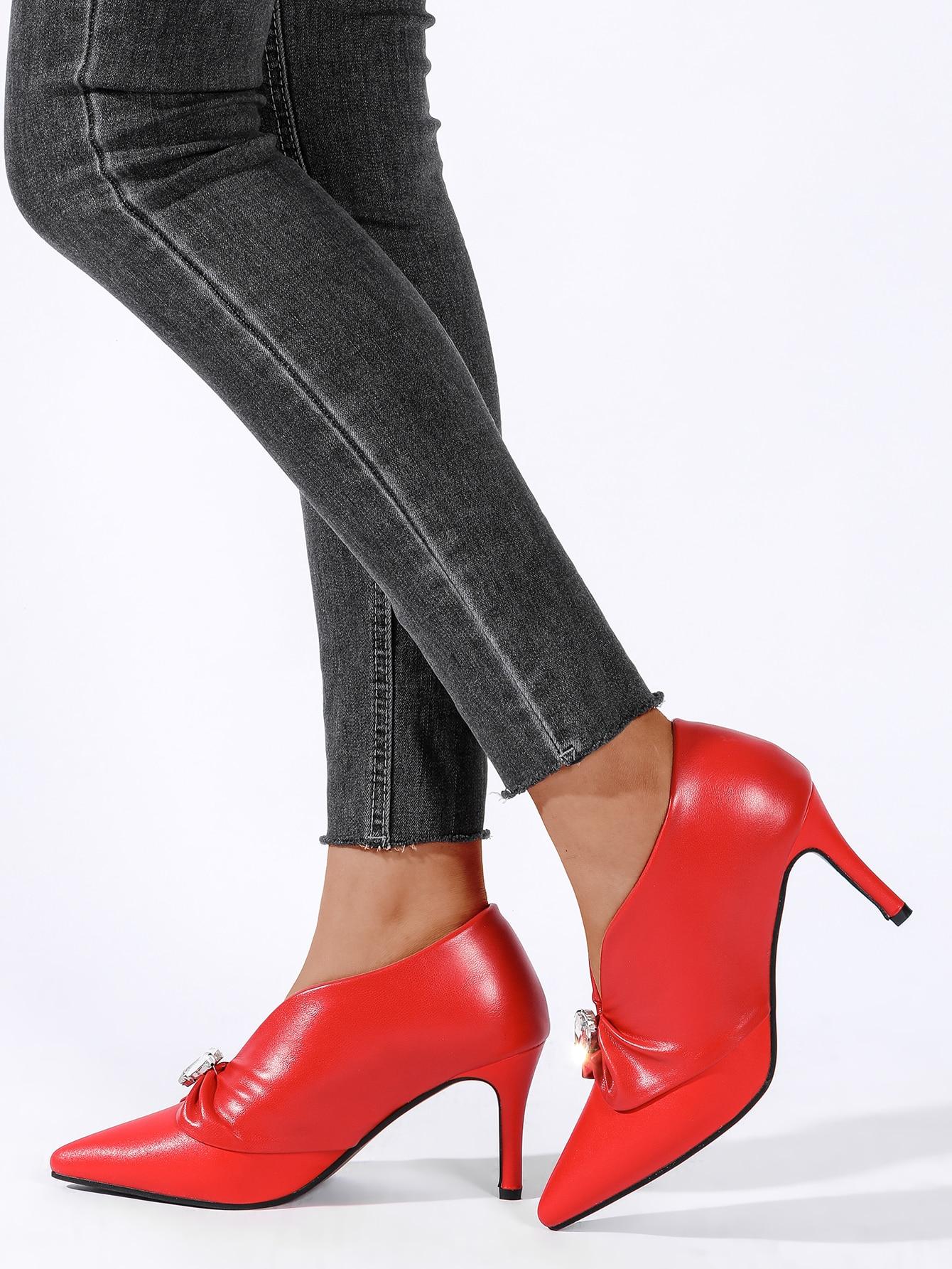 Point Toe Gemstone Decor Stiletto Boots