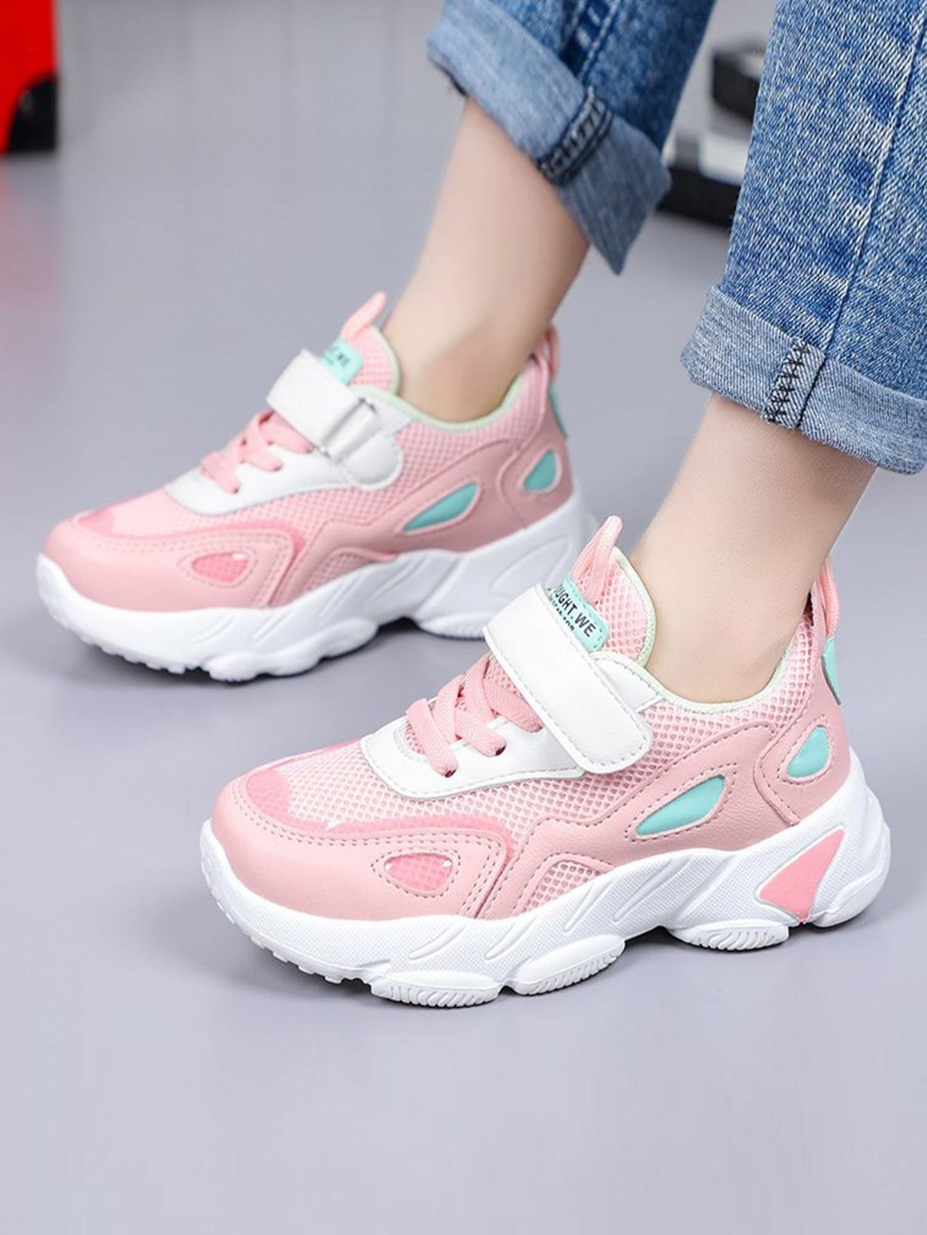 Girls Color Block Velcro Strap Sneakers
