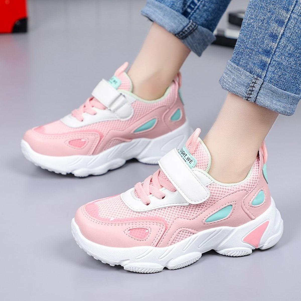Контрастные кроссовки на липучках для девочек SheIn skshoes03210111543